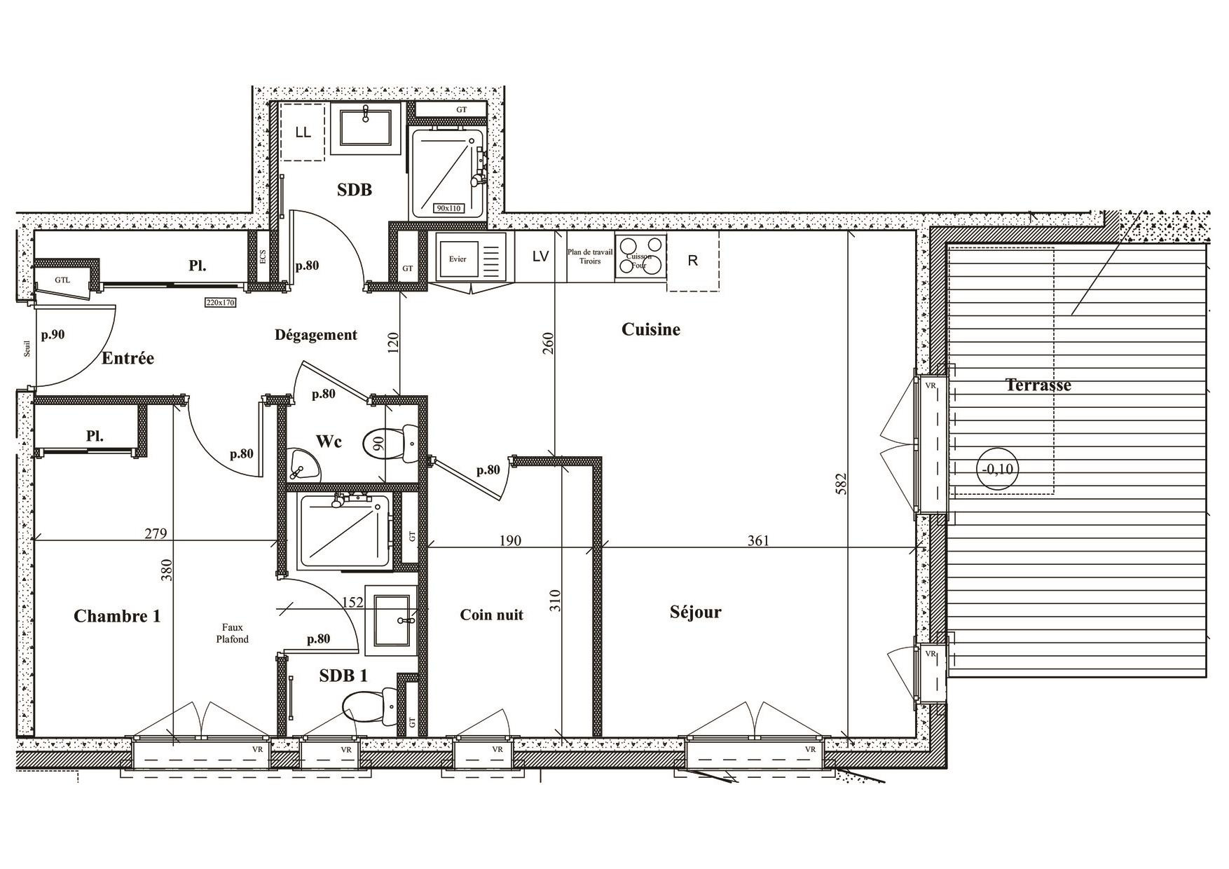 RESIDENCE 'LE GREEN' - 3 ROOM FLAT OF 58.38M2